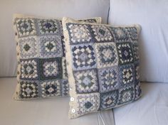 Grey Scale Granny Square cushion cover, varying shades of grey with a cream boarder.. $77.00, via Etsy.