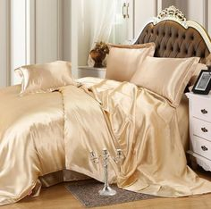 sapphire Faux Silk Bedding set soft Sheet Pillowcase and Duvet cover Sets for Single Double Bed