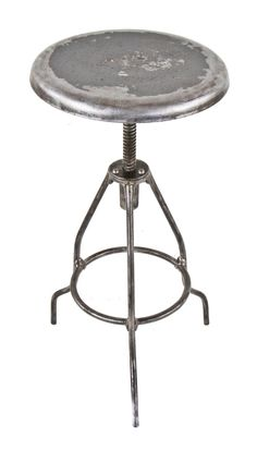 early 20th century brushed and sanded bare metal antique american medical all welded-joint three-legged stationary operating room stool with original pressed and form seat
