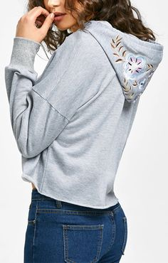 c1858d191d Up to 68% OFF!Cropped Floral Embroidered Hoodie. Zaful
