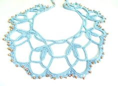 Handmade Lace Floral Necklace Crochet Jewellery by CatsAndSheeps,