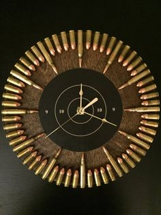 Bullet Clock with inert ammo. Great gift for shooters, hunters, military, man cave, gun gift Bullet Clock with inert ammo. Great gift for shooters Diy Man, Man Cave Diy, Man Cave Home Bar, Man Cave Crafts, Men Cave, Bullet Casing Crafts, Bullet Crafts, Bullet Art, Bullet Shell
