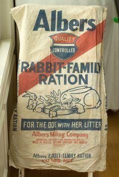 rabbit family ration Flour Sacks, Feed Bags, Bird Ornaments, Vintage Farm, Tin Signs, Farmhouse Signs, Rabbits, Ephemera, Bunnies