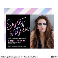 Shop Modern girly holographic sweet sixteen birthday invitation created by All_Photos. Sweet Sixteen Invitations, Pink Invitations, Birthday Party Invitations, Sixteenth Birthday, 16th Birthday, Sweet 16 Birthday, Holographic, Girly, Modern