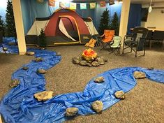 camp theme Rolling River Rampage VBS - Nocona First United Methodist Church - Nocona, Tx School Themes, Classroom Themes, Vbs Themes, Classroom Activities, Indoor Camping, Lake Camping, Camping Places, Camping With Kids, Camping Ideas