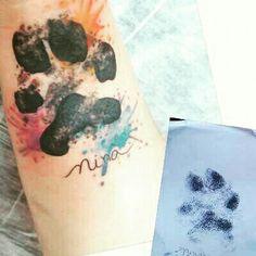 Homenagem à minha filha amada, Nina. #dogtattoo #paw #patas #tattoo #aquarela