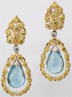 12/14    Buccellati - Yellow gold, aquamarine drop earrings. Photo courtesy press office -