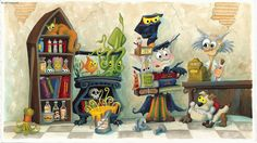 """I created the inside of a Halloween town brew and potion supply shop for my book """"There's A Bat In My Belfry"""" This is my favorite illustration in the book and also the one that by far took the longest, I spend about 4 months working every odd hour I could find between being a dad and holding down a job to finish the book, tons of work, but totally worth it in the end."""