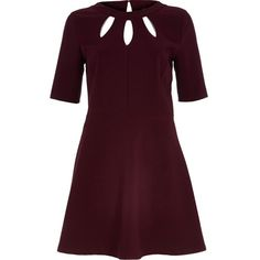 River Island Dark red cut out fit and flare dress (€18) ❤ liked on Polyvore featuring dresses, sale, river island dresses, river island, purple fit and flare dress, cut-out dresses and fit flare dress