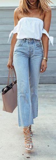 #summer #outfits / denim + off the shoulder top