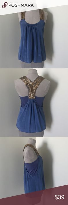 Akiko Silk and Modal top Silk Racer back top with Modal under top attached. Adorable and comfortable on. Small section of gold embellishment missing on back. Need to look closely to notice. Blue/Purple shade. Worn once. akiko  Tops Camisoles