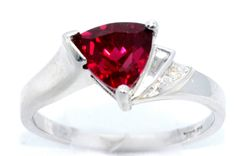 14Kt White Gold Ruby & Diamond Trillion Ring by ElizabethJewelryInc on Etsy