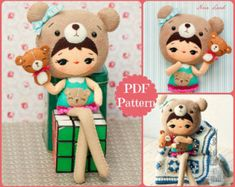 """This PDF sewing pattern is to make a Barn owl Doll with her mask and a Puppet that is about 10"""" (24 cm) tall from felt fabrics. These doll and puppet"""