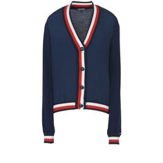 Tommy Hilfiger Cardigan (7.580 RUB) ❤ liked on Polyvore featuring tops, cardigans, blue, lightweight cardigan, long sleeve tops, cardigan top, light weight cardigan and v-neck top