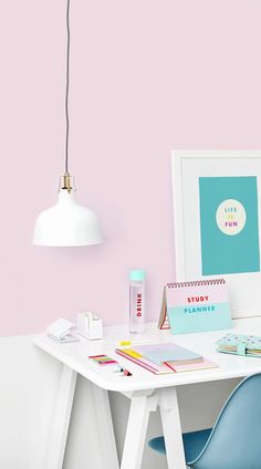 Desk Inspiration: Cute and colourful work space, love the colors! The perfect home office.