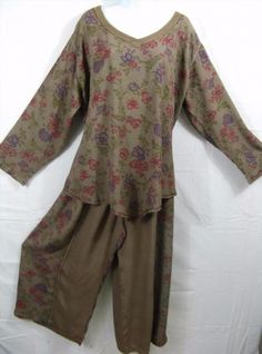 64.33$  Watch now - http://vinos.justgood.pw/vig/item.php?t=94h43wn27542 - O77~TIENDA HO~BROWN~Top/Pant Set~Pointed Hem~WEARABLE ART~Rayon~EMBROIDERED~OS