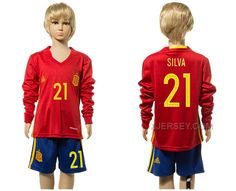 http://www.xjersey.com/spain-21-silva-home-youth-long-sleeve-euro-2016-jersey.html SPAIN 21 SILVA HOME YOUTH LONG SLEEVE EURO 2016 JERSEY Only 33.11€ , Free Shipping!