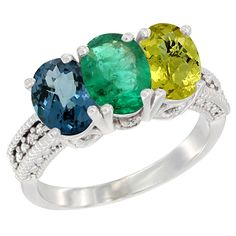 10K White Gold Natural London Blue Topaz, Emerald and Lemon Quartz Ring 3-Stone Oval 7x5 mm Diamond Accent, sizes 5 - 10 *** Review more details here : Jewelry Ring Bands