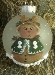 Hand painted Christmas ornament painted by Cindy Lawhon