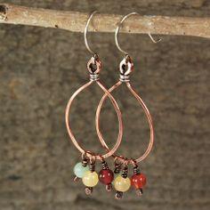 $33 - Santa Fe Sunrise Earrings - Copper & Sterling silver hoops with carnelian & red & green aventurine dangles - Maggie Connolly Designs