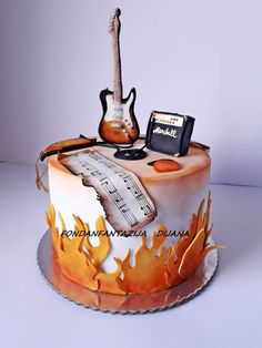 Guitar cake by Fondantfantasy Guitar Birthday Cakes, Guitar Cake, Guitar Cupcakes, Music Themed Cakes, Music Cakes, Crazy Cakes, Unique Cakes, Creative Cakes, Gorgeous Cakes