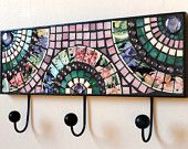 Upcycled Mosaic Wall Hook/Hanger with Fan Design