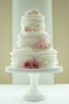 Pink Ombre tipped ruffles and roses Cake  ~ Absolutely Gorgeous!