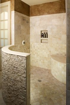 Master Bath shower: no glass doors to clean! I had this in my last home and loved not cleaning glass shower doors.