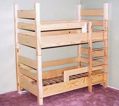 A TODDLER bunk bed! This is exactly what I was thinking of making with my dad--Uses crib mattresses.love this idea for a small room shared by little kids. Wonder how much longer until my oldest is too tall for her toddler bed? Toddler Bunk Beds, Bunk Beds Boys, Low Loft Beds, Modern Bunk Beds, Bunk Beds With Stairs, Cool Bunk Beds, Twin Cribs, Build A Loft Bed, Loft Bed Plans