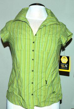Women's Mountain Hardwear Trailend Stripe S/S Top Kiwi Green Size 4 $55-NWT #MountainHardwear #Top #Casual