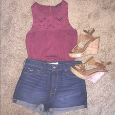American Eagle Tank Super cute burgundy American Eagle tank top. Cute & flowy. Great for a boho look.  (accessories not included)  American Eagle Outfitters Tops Tank Tops