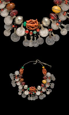 Morocco - Rif region | Necklace ~ Firo ~ coral, silver, glass and 'faux' amber beads, with pendant Spanish coins.
