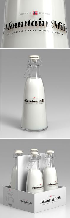 Mountain Milk Bottle Packaging Design