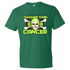 Non-Hodgkins Lymphoma TOUGHER THAN CANCER Men's Fashion T-Shirts spotlighting a cool skull design with crossbones and wearing a headscarf featuring an awareness ribbon to advocate for the cause  #NonHodgkinsLymphomaAwareness
