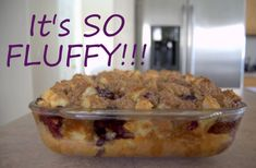 Baked Blueberry French Toast 1 day old loaf French Bread, cut into one inch cubes  12 ounces fresh blueberries or 2 cups frozen blueberries, thawed  8 eggs  2 cups milk  1/2 cup heavy cream  3/4 cup sugar  2 tablespoons vanilla  1/2 cup flour  1/2 cup packed light brown sugar  1 teaspoon cinnamon  1/4 teaspoon salt  1 stick (8 tablespoons) cold butter