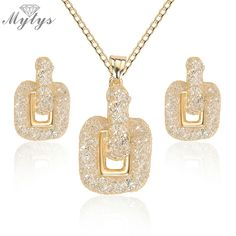 Daily Price $9.93, Buy Mytys New Design Wire Mesh Crystal Jewelry Sets for Women Crystal Wire Mesh Net Earrings Drop Pendant Necklace Sets CN336