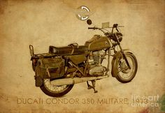 Ducati Condor 350 Militare 1973 Poster by Drawspots Illustrations Bike Poster, All Poster, Ducati, Yamaha, Trending Art, Thing 1, Bike Style, Awesome Gifts, Fine Art Prints