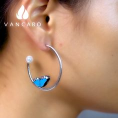 Pearl Hoop Earrings With Butterfly Wing Adorned In Blue Lacquered Butterfly Earrings, Butterfly Wings, Pearl White, White Gold, Photo Engraving, Ring Size Guide, Jewelry Tools, Hoop Earrings, Pearls