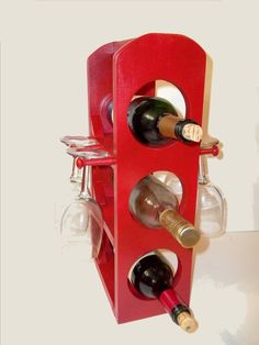 Unique wine rack stemware rack in Apple Green is Handmade