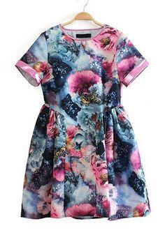 Multicolor Print Above Knee Cotton Blend Mini Dress