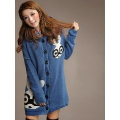 Oversized button up sweater coat with rabbit pattern, plush inner and hood.