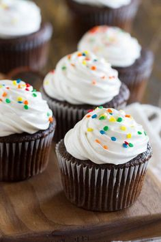 You can't go wrong with a classic like these Devil's Food Cupcakes with Fluffy Frosting! The cupcakes are deep chocolate, contrasted by the light and fluffy marshmallow frosting.: