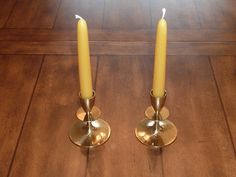 Vintage Mid Century Modern Brass Candle by labaublesandbags, $14.00
