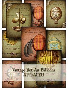 Vintage Hot Air Balloons ATC -Digital Collage Sheet- aceo altered art hang tags greeting cards flying tattered air ships