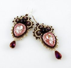 "Bead Embroidery Chandelier Earrings Rhinestone by ThezoraArtBijoux Use ""PINTEREST"" coupon at check-out and get 10% OFF!"