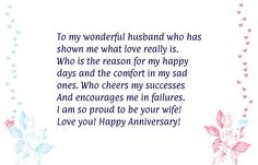 Happy, Funny and Wedding Anniversary Quotes for him and her, for parents, couples, husband and wife. All years Anniversary Quotes and Images from the heart. Anniversary Message For Husband, Happy Anniversary Messages, Anniversary Quotes For Husband, Wedding Anniversary Message, Anniversary Quotes For Him, Anniversary Scrapbook, Wedding Card, Anniversary Cards, Beautiful Quotes For Husband