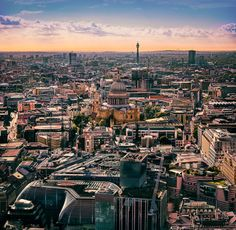 """London: View from the """"Sky Garden"""" at 20 Fenchurch Street across the City of London. London View, Cityscape Photography, Sky Garden, Paris Skyline, Digital Art, Street, Pictures, Travel, Photos"""