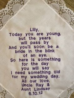 A gift for the Flower Girl so she'll someday have something old... Omg SO cute