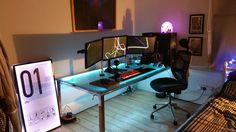 A much better picture of my custom desk battlestation. Including a custom made…