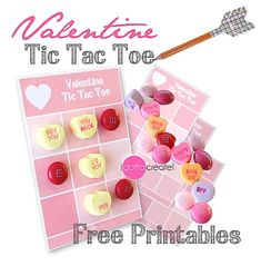 Turn the ordinary tic tac toe game into something special  by playing with candy on a super cute little game board. {wink!}   Winner takes all pieces on the game board!    Grab the free Valentine Tic Tac Toe Printable   for download in two sizes. #Valentine Tic Tac Toe with candy pieces! | Free #printable at I Gotta Create!